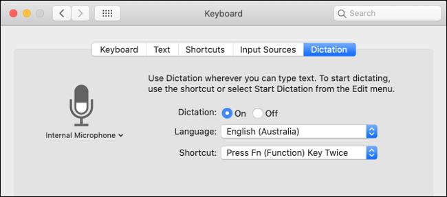 """La """"Dictation"""" paramètres dans le """"Clavier"""" menu."""