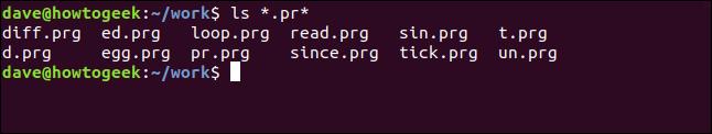 ls * .pr * dans une fenêtre de terminal