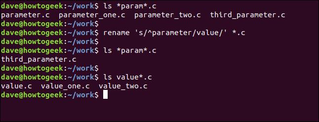 renommer 's / ^ paramètre / valeur /' * .c dans une fenêtre de terminal