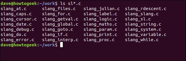 ls sl * .c dans une fenêtre de terminal