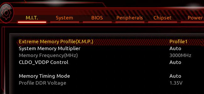 Un écran BIOS Aorus.