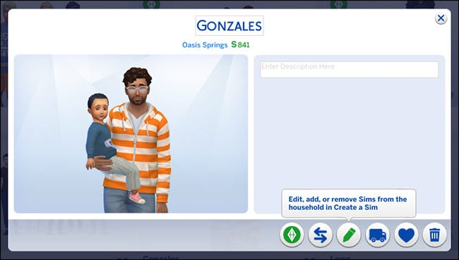"""Un ménage montrant un personnage masculin tenant un personnage de petit garçon dans """"Les Sims 4."""""""