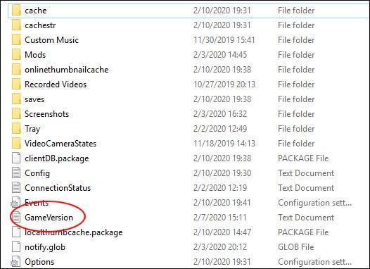 """""""Les Sims 4"""" Fichier texte GameVersion dans un """"Les Sims 4"""" dossier."""
