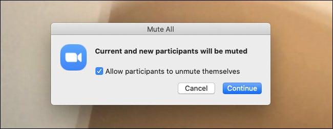 Boîte de dialogue d'avertissement indiquant que tous les participants seront coupés dans Zoom