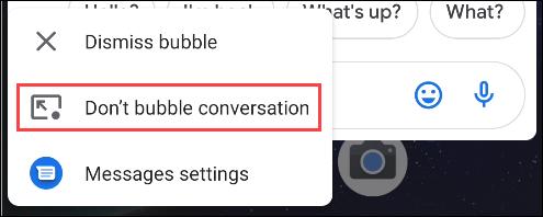 sélectionnez ne pas faire de bulles de conversation