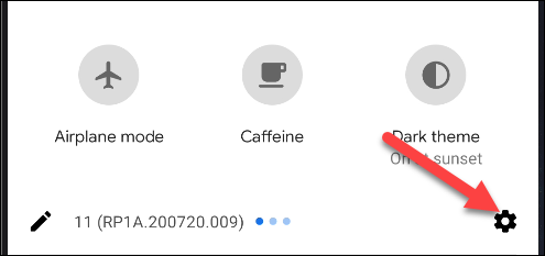 menu des paramètres Android