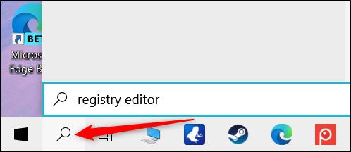 """Cliquez sur l'icône Rechercher, puis tapez """"Éditeur de registre"""" dans la zone de texte."""