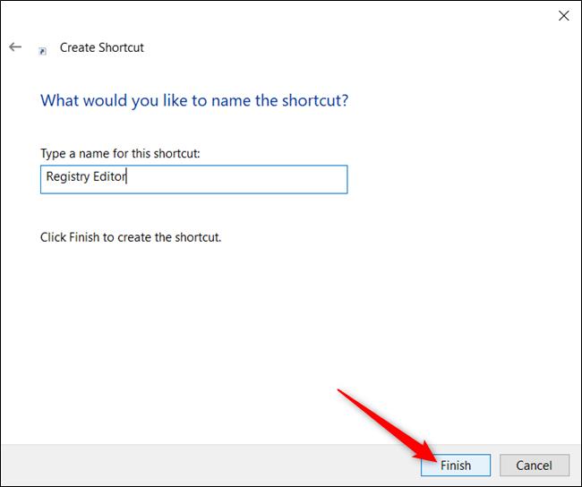 """Tapez un nom pour votre raccourci dans la zone de texte, puis cliquez sur """"Terminer."""""""