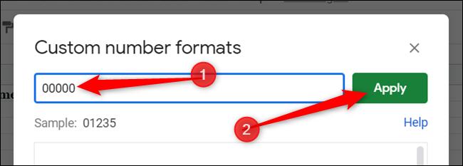 """Entrez cinq zéros dans le champ de texte et cliquez sur """"Appliquer"""" pour créer le format personnalisé."""