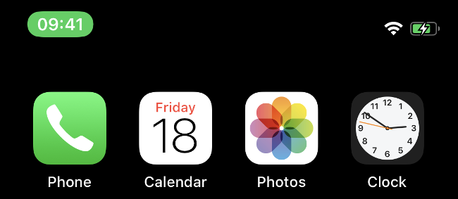 La barre verte sur un iPhone plus récent indiquant qu'un appel est actif.