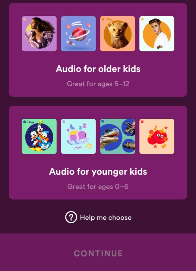 Spotify Kids choisit l'âge