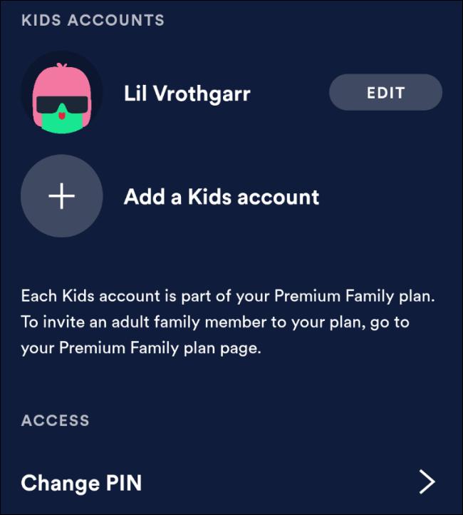 Paramètres parentaux de Spotify Kids