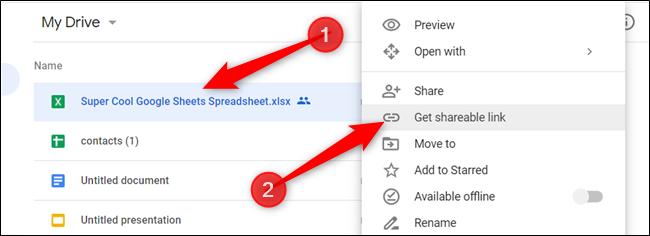 """Cliquez avec le bouton droit sur le fichier que vous souhaitez partager, puis cliquez sur """"Obtenez un lien partageable."""""""