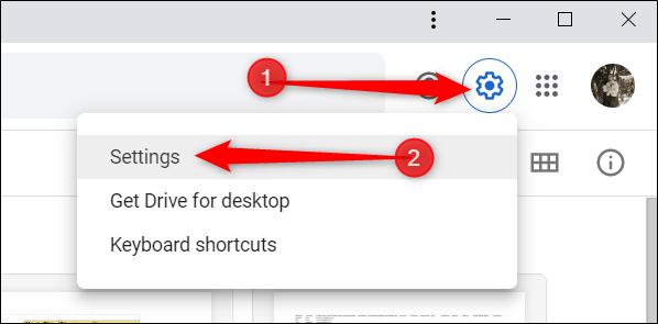 """Cliquez sur l'icône Paramètres, puis sur """"Paramètres."""""""