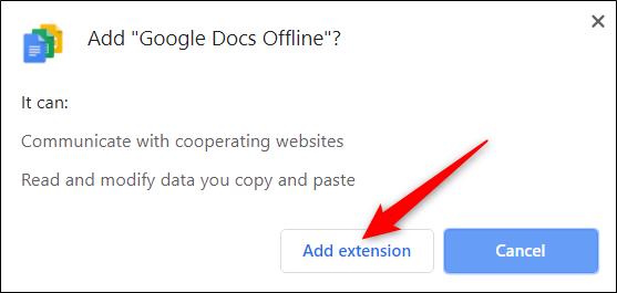 """Cliquez sur """"Ajouter une extension."""""""