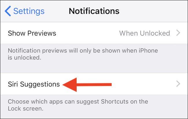 Cliquez sur Suggestions Siri