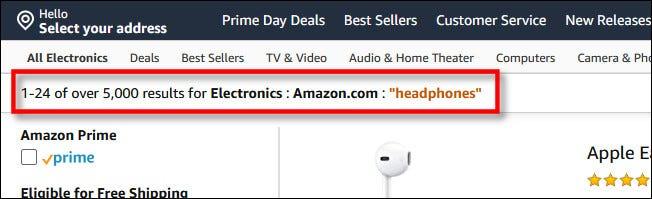 """Les critères de recherche comprendront """"Amazon.com"""""""