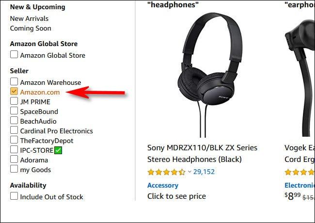 """Placez une coche à côté """"Amazon.com"""" dans la section vendeur de la barre latérale"""