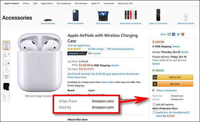 """Dans les produits sur Amazon.com, recherchez les articles qui disent """"Vendu sur Amazon.com"""""""