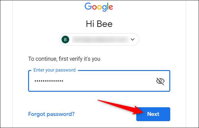 """Tapez votre mot de passe pour vérifier qu'il s'agit bien de vous, puis cliquez sur """"Suivant."""""""