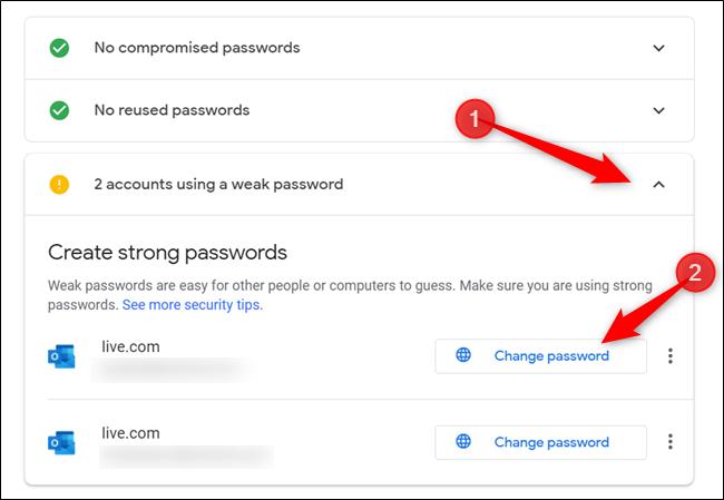 """S'il y a des avertissements / alertes, cliquez sur la section avec l'alerte, et cliquez sur """"Changer le mot de passe"""" pour rediriger vers la page de gestion de compte de ce site Web."""
