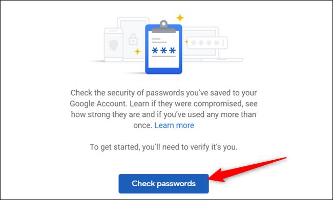 """Cliquez sur """"Vérifier les mots de passe"""" à nouveau pour démarrer le processus."""