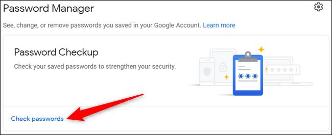 """Cliquez sur """"Vérifier les mots de passe"""" depuis la page principale."""