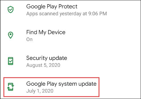 """Robinet """"Mise à jour du système Google Play."""""""