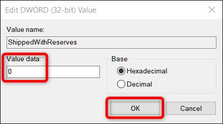 Définissez les données de la valeur sur 0, puis cliquez sur OK