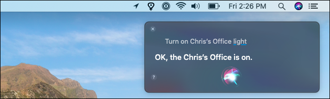 Allumer une lumière Hue avec Siri sur un Mac.