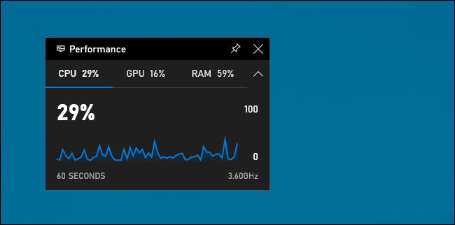 Widget de performance dans la barre de jeu de Windows 10
