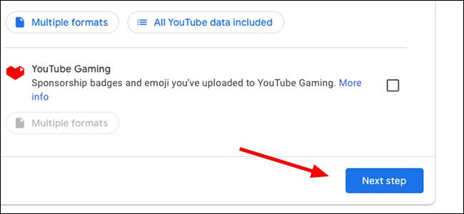 bouton de l'étape suivante google takeout