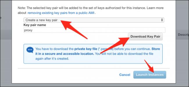 """Cliquez sur """"Créer une nouvelle paire de clés,"""" puis cliquez sur """"Téléchargez la paire de clés."""" Après le téléchargement, cliquez sur """"Lancer des instances."""""""