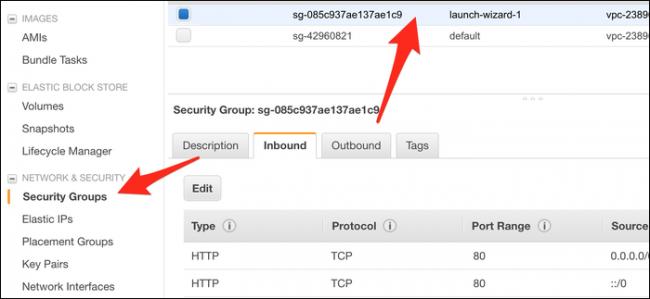 """Clique le """"Groupes de sécurité"""" onglet, puis sélectionnez le groupe (probablement """"Launch-Wizard-1"""") que votre instance utilise."""