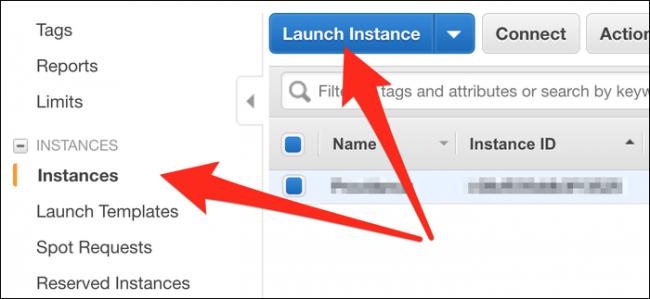 """Cliquez sur """"Les instances,"""" puis sélectionnez """"Lancez l'instance."""""""