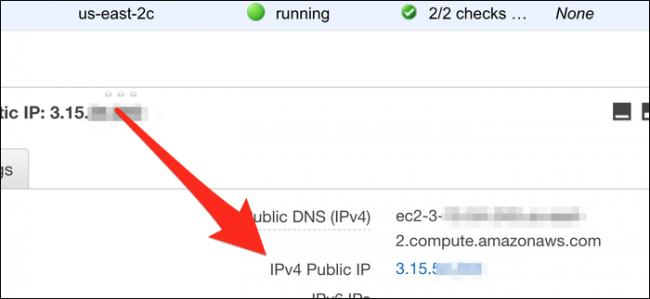 Recherchez l'adresse IP publique IPv4 de votre instance.