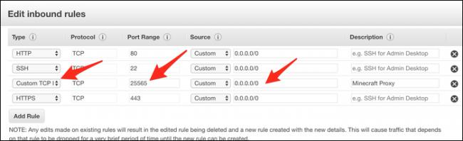 """Ajoutez une nouvelle règle TCP personnalisée et définissez la plage de ports sur 25565. La source doit être définie sur 0.0.0.0/0 (ou """"Nulle part"""")."""