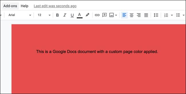 Un exemple de document Google Docs avec une couleur de page personnalisée appliquée