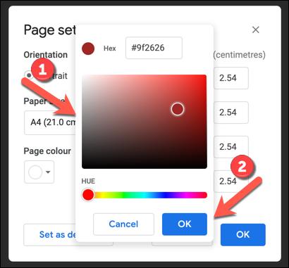 Utilisez l'outil de correspondance des couleurs pour sélectionner une nouvelle couleur de page, puis appuyez sur OK pour enregistrer.