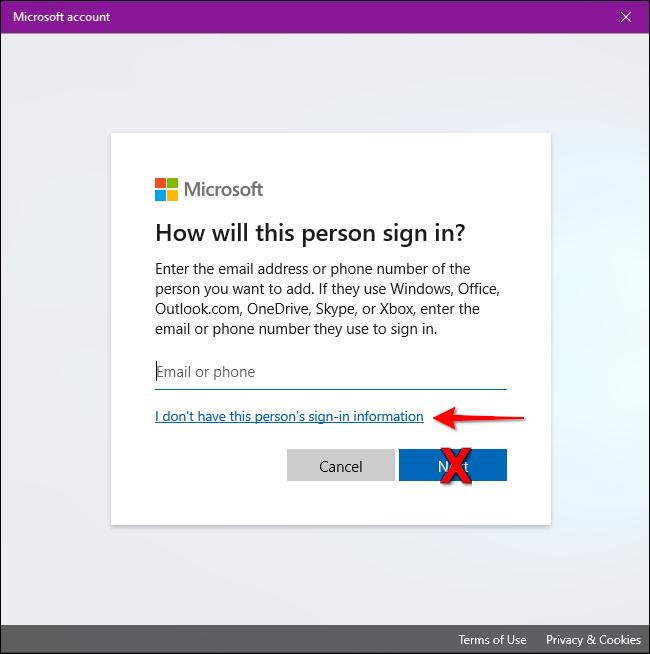 Windows 10 n'a pas d'informations de connexion