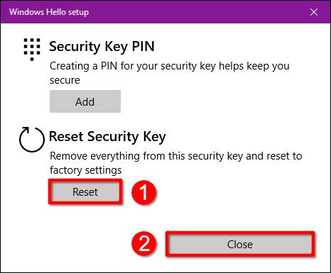 Clé de sécurité de réinitialisation Windows 10