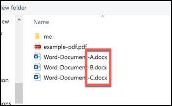 Une sélection de documents Word, classés par lettres A, B et C