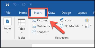 Cliquez sur l'onglet Insertion dans Microsoft Word