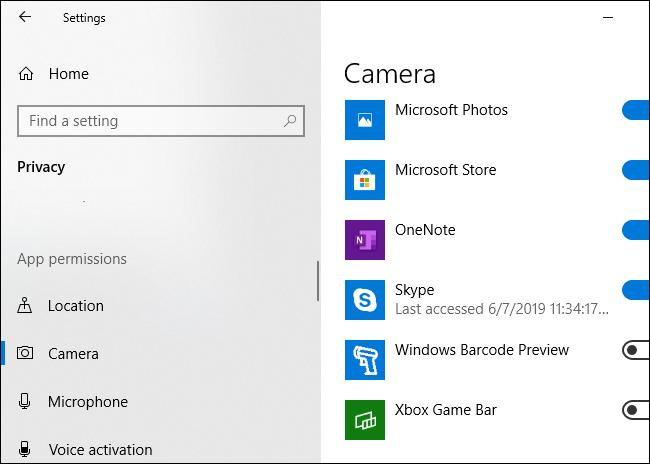 Windows 10 montrant quelles applications ont utilisé la caméra de votre PC