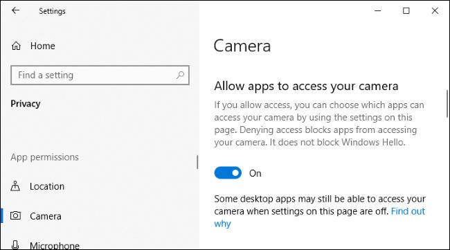 Option pour désactiver l'accès à la caméra pour les applications dans l'application Paramètres de Windows 10