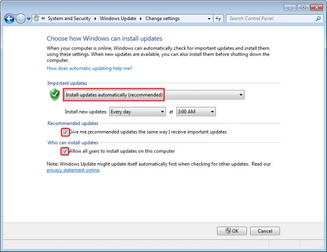 Paramètres de mise à jour Windows