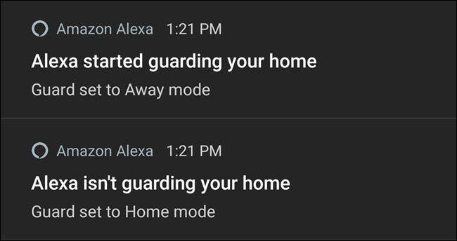 Notifications Alexa activant et désactivant la garde.