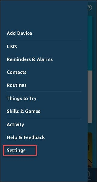 Application Alexa avec boîte autour de l'option Paramètres.