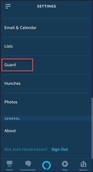 Application Alexa avec option Box around Guard.