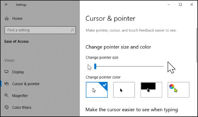 """Le """"Curseur et pointeur"""" menu dans l'application Paramètres de Windows 10."""